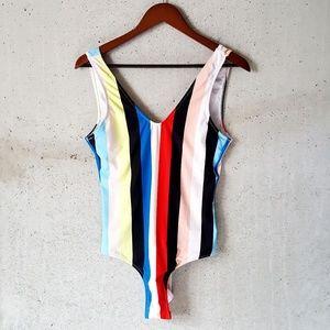 NWT Cupshe stripe v neck swimsuit size medium